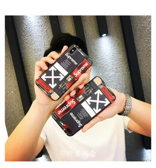 Supreme Off white  IPHONE XRカバーブランド iphone XS/XS MAXケース ファッションシュプリーム iPhone8 8plus カバー 背面 男女チェック
