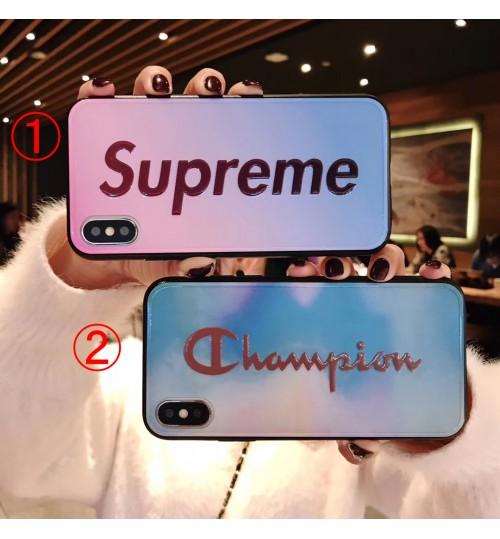 オシャレ supreme iphone xr/xs maxケース 女性チャンピオンアイフォンテンアール/xs マックスケース高品質なブランド アイフォン x/8/7 plus/6ケースエンボス型