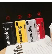 supreme iphone xs ケース背面ポケットカード入れブランド シュプリームアイフォンxr/xs maxケース大人気 iphone x /8カバー 激安