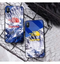 シュプリーム ノースフェイスiphone XSケース 高級感ブランドアイフォンXSMAX/XS/XR ガラスカバー パロディー激安 iphone8保護ケースセレブ愛用