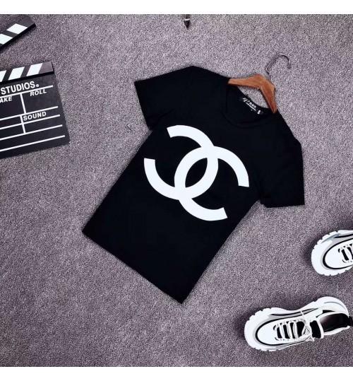 ChanelTシャツ 男女兼用 ダイアモンド風シャンル 半袖 お洒落なtシャツ ブランド メンズ 韓国シャツ ゆったり トップス カットソー コットン 薄手 涼しい 夏