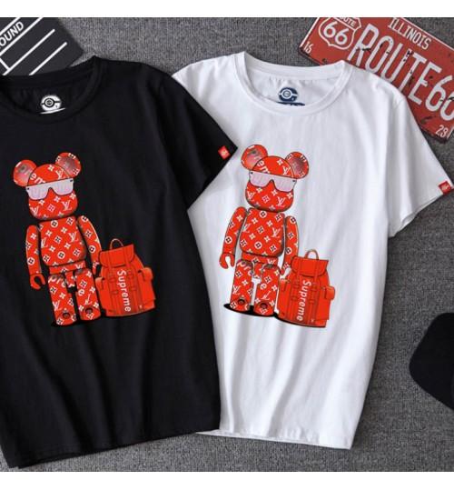 シュプリーム LVtシャツ 男女向け 高級ルイヴィトン Tシャツ メンズ レディース大きいサイズ 綿Tシャツ 韓国風 コピーsupreme カップルtシャツ パロディ コーデ
