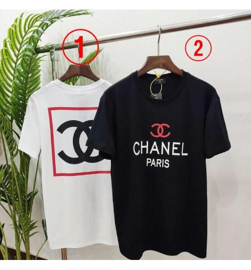 ブランド シャネル chanel風短袖 tシャツ  カットソー激安 フリーサイズ  激安 ペア Tshirt コピー 男女向け 夏 白黒 レディース向け