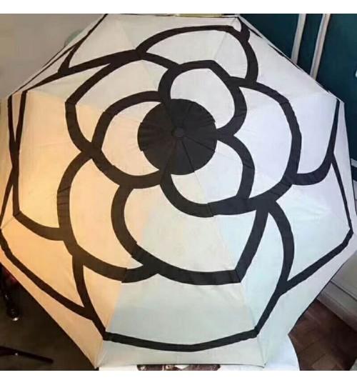 ブランド シャネル 折り畳み傘 chanel 椿柄 女性向け晴雨兼用シャネル傘 ワンタッチ自動開閉 晴雨兼用 軽量楽々 収納ポーチ付き