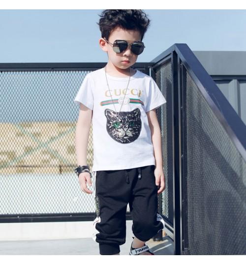 gucci  子供tシャツ 韓国風 夏親子服 ブランド 短袖 tシャツ グッチ  ズボンパンツ tシャツ+ズボンセットも購入可