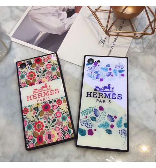エルメスブランドiPhoneX/X Plus ケース 花 オシャレhermes ブルーレイガラス アイフォン8 プラス スマホケース ブラントHERMES iPhone7/7plus携帯カバー 女向け