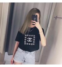 春夏 短袖シャネル コピー ブランド オリジナル Tシャツ ブランド 刺繡 半袖 ラウンドネックTシャツ   メンズ レディース 半袖 Tシャツ  シャネル服