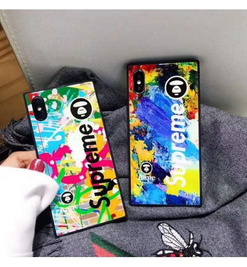 パロディーiPhoneX ガラスケース ブランド シュプリーム Supreme アイフォンX PlusカバーAape アイフォン 8/8 Plus 保護カバー おしゃれ iphone7/7Plusケース