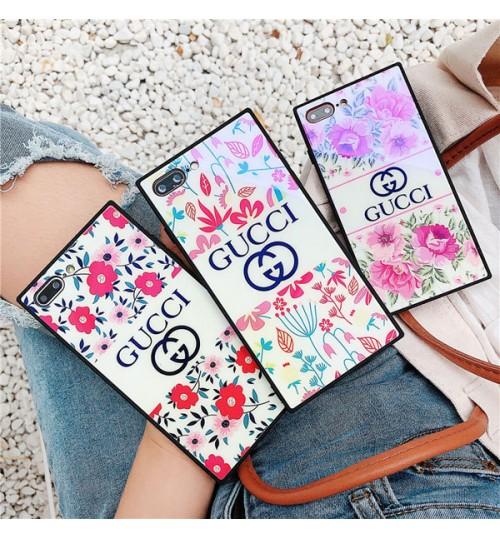 グッチ風ブランドiPhoneX/8 Plus ケース フラワー オシャレGucci ガラス アイフォン7 プラス スマホケース ブラントGUCCI iPhone6s/6s plus携帯カバー 女向け