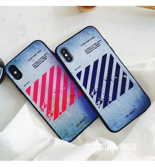 オフホワイトOFF-WHITE iPhoneXs/Xs Max/Xrケース 背面ガラスケース メンズ レディース アイフォンX/8/8プラスケース おしゃれブランド オフホワイトiPhone7/7 Plusケースレディース用 galaxy s10+ケース カップル用