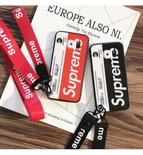 Supreme シュプリームブランドSamsung GalaxyS9/S9+ ケース オリジナル Supreme アイフォンX/8/9 Plus カバー おしゃれギャラクシーS8/S8 Plus 保護カバー アイフォン7/7Plus ストラップ付き カップル愛用