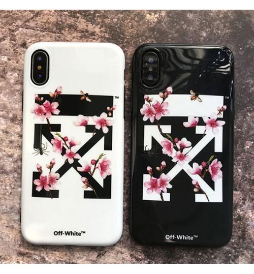 OFF-WHITE iPhoneX/8/8 Plus ケース 桜 花柄 レディース向け オフホワイトブランドアイフォン7/7プラスケース おしゃれ iPhone6/6 Plusケース
