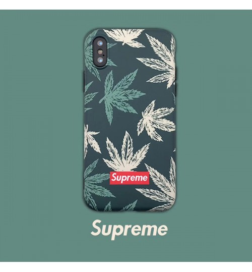 SUPREME GALAXYS10/S10+/S10E ケースシュプリームiPhoneXs Max/Xrケース 緑の葉 夏風 SUPREME galaxys9/s9 Plusケース シリコン製 ブランドアイフォンX/8/8 Plusケースおしゃれ supreme アイフォン6s/6 Plusカバー