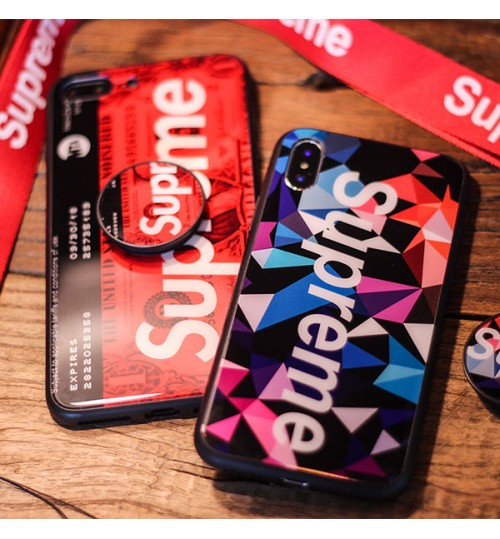 supreme iPhoneXrケースブランドシュプリーム アイフォンXs Max保護カバー 花柄 メンズレディース SUPREME ブランド iPhoneX/8/8 Plusカバー ストラップ付き 激安