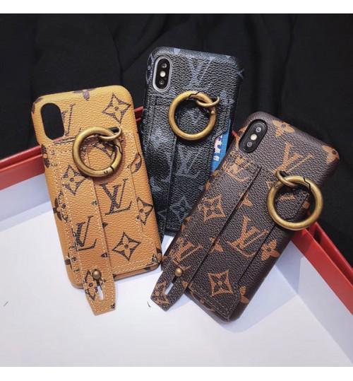 ルイヴィトンアイフォンXPlusカバー リング付き ブランドLouis vuitton iPhoneX/8/9 Plusケーススタンド付き 金属感 ポータブルストラップ付きLV iPhone7/6s/6保護カバー カード入れ