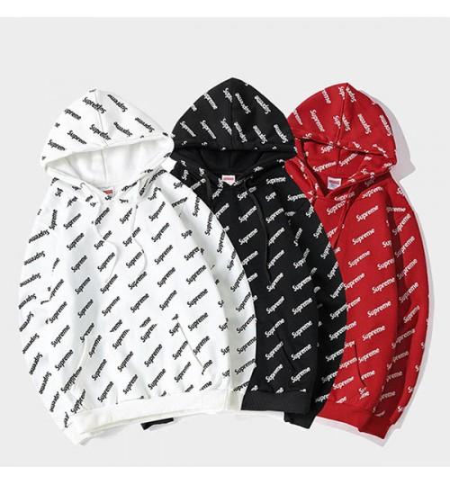 春秋 男女 シュプリーム パーカ メンズ レディース スウェット ブランド supreme パーカー フード付きセーター  赤黒白  長袖