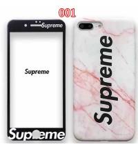 日韓風 ファションブランドシュプリーム iPhone X/Xs/9 Plusケース シリコン製SUPREME アイフォン8/7/6 plusカバー フィルム付き メンズレディース 新品