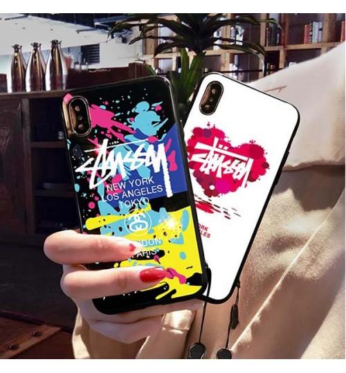 ブランド iPhoneXs/Xs Max/Xr ケース Stussy 背面ケース ステューシー iPhone X/8/8 Plusカバー ガラスケース Stussyアイフォン7/6s/6 Plusケース 激安