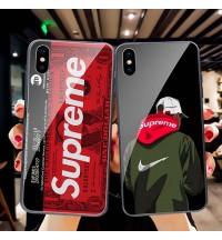 iPhone Xs/Xr/X ケース supreme ブランド クリア背面ケース  シュプリーム iPhone Xs Maxカバー強化ガラス SUPREME アイフォンX/8/7 Plusケース ブランド 新品