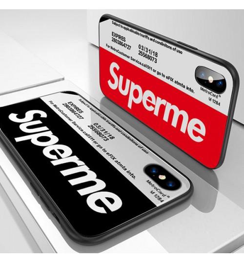 ファションブランド iPhone Xs/Xs Max/Xr ケース SUPREME 夜光 背面ケース 強化ガラス シュプリーム iPhone X/8/8 Plusカバーおしゃれ supreme アイフォン7/6s/6 Plusケース 激安