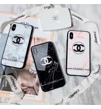 ブランドiPhoneXr/Xs Maxケース 強化ガラス背面ケース chanel  アイフォンX/8/8 Plus携帯カバー シンプル風 大理石柄 iPhone7/6s/6 プラスケース 芸能人愛用